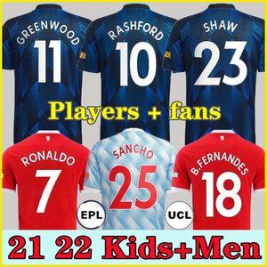 2021 2022 FANS Player 21 22 RONALDO SANCHO jerseys MANCHESter POGBA CAVANI VARANE SHAW B. FERNANDES LINGARD UNITED GREENWOOD UTD soccer foot