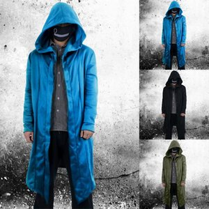 Men's Trench Coats 2021 Mens Open Front Long Sleeve Draped Lightweight Longline Hooded Cardigan With Pockets Outwear Jacket &