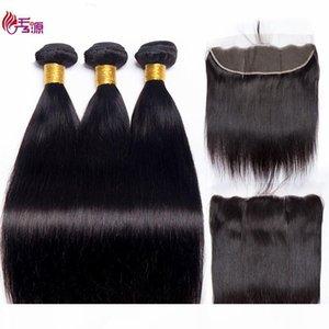 Gerade menschliche Haarbündel mit Schließknuss ausgerichtet 100 Unverarbeitete brasilianische Jungfrau Remy Human Hair-Bündel mit 13x4-Schließung