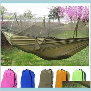 Hammocks Outdoor Furniture Home & Garden Wholesale- Double Hammock Chair With Mosquito Nets For Swing Hanging Adults Parachute Cloth B