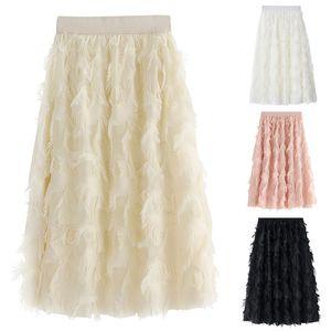 New Womens Ladies Elastic High Waist Mesh Tulle Tutu Skirt Feather tassels Dress