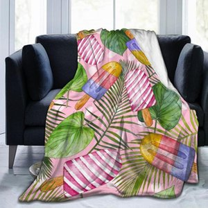 Blankets Flannel Blanket Summer Tropical Elements Light Thin Mechanical Wash Warm Soft Throw On Sofa Bed Travel Patchwork