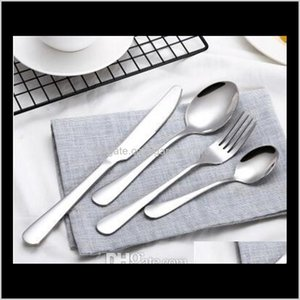 Sets Stainless Steel Cutlery Rainbow Gold Plated Dinnerware Fork Knife Spoon Dinner Set For Wedding Party 4Pcsset Yfqae Yr4Kv