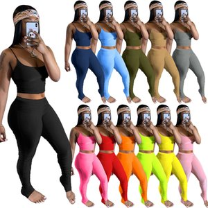 Tracksuits Women Sportwear Summer Two Piece Sets Crop Top and Pants Stacked Leggings Set Jogging Femme 2-Piece-Sets Womens Outfits