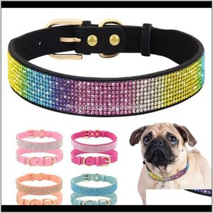 & Leashes Bling Rhinestone Dog Collar Soft Suede Leather Cat Puppy Collars Necklace For Small Medium Dogs Cats Chihuahua Yorkshire Pin Lolyd