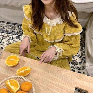 Prinzessin Frauen Nachtwäsche Süße Set Damen Spitze Baumwolle Pyjamas Top Pyjama Langes Hemd Hose Kpacotakowka Plaid Homewear