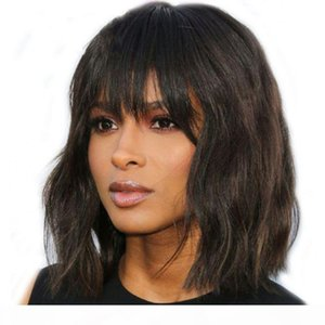 Wavy Human Hair Bob Short Lace Front Wig With Bangs Natural Color Virgin Mongolian Lace Wigs For Black Women