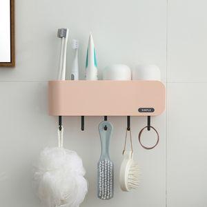 Hook Up Toothbrush Holder Multifunction Storage Toothpaste Accessories Practical Home Mount Rack Bathroom Tools Set