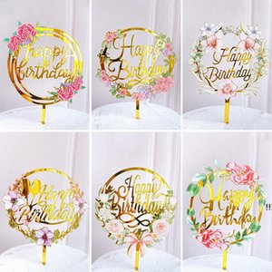 New Home Colored flowers Happy Birthday Cake Topper Golden Acrylic Birthday party Dessert decoration for Baby shower Baking supplies EWD6224