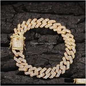 Link Chain 12Mm Sier Zircon Mens Bracelet 18K Gold Plated Full Icy Miami Locked Curb Cuban Bracelets Nonfading Nonallergic Qfjhz A6K7V