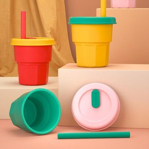 Mugs Silicone Straw Cup Water For Children Learn To Drink Milk Coffee Portable Fall And High Temperature Resistance