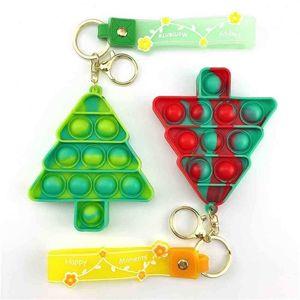 2021 Christmas Push Poppers Bubbles Rainbow Fidget Toys Key Chain Camouflage Bubble Tie Dye Pendant Key Ring Decompression Toy Mini Pandents G01YTQF