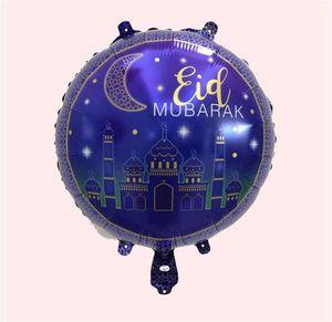 18 pollici rotondo Eid Mubarak Foil Balloons Hajj Mubarak Decorazioni Star Moon Helium Balloon Ramadan Kareem Eid al-Fitr fornisce EEB6417