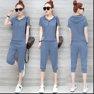 Womens Tracksuits Blue for Women Outfits 2 Piece Set Sportswear Co ord Plus Size Xxxl Top and Pants Suits Summer