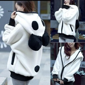 Kawaii Hoodies Women Fur Coat Sweatshirt Zip-up Cute Panda Ear Cap Autumn Winter Warm Hooded Turtleneck Outerwear Sudadera Mujer Women's & S