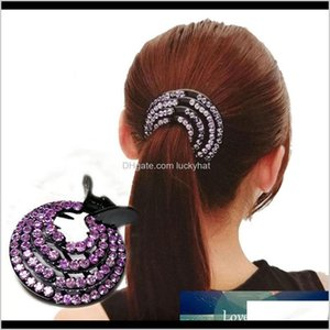 Clamps Fashion Crystal Ponytail Holder Rhinestone Crab Donut Bud Womens Hairstyles Claws Girls Bird Nest Updo Hair Grips Tz4Ls Utf3J