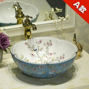 Flower Shape Artistic ceramic sink wash basin Ceramic Counter Top Wash Basin Bathroom Sinks shampoo manufacturersgood qty
