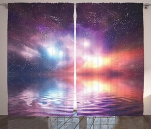 Curtain & Drapes Nature Curtains Ocean Under Northern Galaxy Milky Way In Mystical Dark Cosmos Reflection Planet Po Window