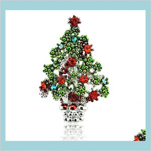 Pins Drop Delivery 2021 Fashion Sier Color Metal Pins Red Rhinestone Tree Brooches Clothing Christmas Decoration Gift Jewelry D3D9Q