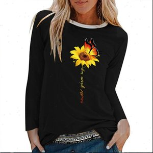 Sunflower Butterfly Never Womens T Shirts Give Up Printed Long Sleeve Women Autumn Winter Woman Cotton Aesthetic