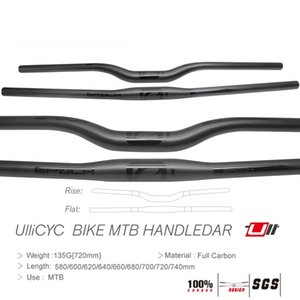 Bike Handlebars &Components Ullicyc MTB Carbon Friber Bicycle Handlebar Flat Or Rise Mountain Parts 31.8*580 600 620 640 660 680 700 720 740