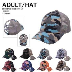 Camouflage Mesh Hat Designers Women Mens Criss Cross Ponytail Baseball Ball Caps Summer Sports Visor Net Cap Outdoor Head Wear G34STUY