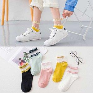 Summer Women Cotton Socks Letter Patterned Transparent Breathable Thin Short Ankle Socks Pink Female Sox Calcetines De La Mujer