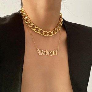 패션 사용자 정의 이름 합금 목걸이 편지 Gold 펜던트 목걸이 여성 2021 설계 쥬얼리 액세서리 16720