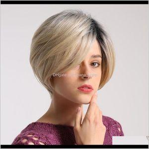 Shampoo&Conditioner 4X 12Inch Women Lasting Human Hair Short Straight Wig Resistant Alg1Y Wrdxa