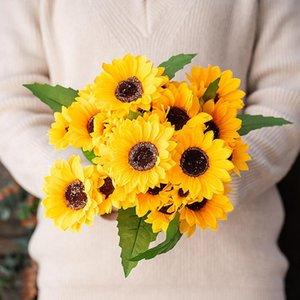 Bündel Sonnenblumen Künstliche Blumen Pflanzen Weihnachten Akazie Falsche Blume Home Decor Arrangeanwaren Wilde Hochzeit Dekoration Dekorative WR Wege