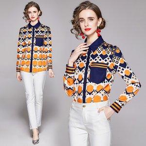 Printed Shirt High End Fashio Womens Blouse Spring Autumn Shirt Temperment Noble Lady Shirt Quality Goods Blouse