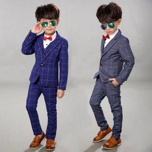 2021 Plaid Business Suit for Boy Formal Children Wedding Suits Spring Kids School Uniform Tuxedo Dress Gentlemans Party Costume