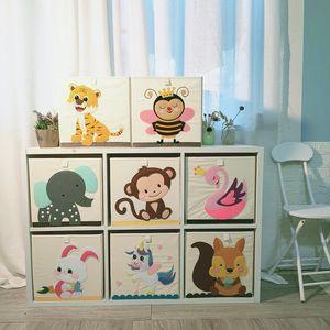 Cube Cartoon Animal toy storage Box Folding Storage Bins Wardrobe drawer organizer clothes storage basket kids toys organizer