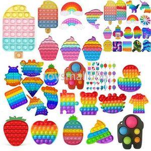 Latest Tiktok Tie-dye Rainbow Color Fidget Toy Keychain Sensory Push Bubble Toy Autism Special Needs Anxiety Stress Reliever