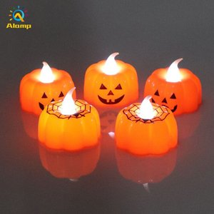 12PCS Pumpkin Tea Lights Battery Operated Thanksgiving Tealights LED Flickering Orange Candle Light For Halloween Xms Christmas Decor