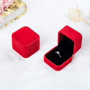 Bulk 11 color velvet Jewelry Gift Boxes For Rings wedding engagement couple Jewelry packaging Square show Case Box 55*50*43MM 1017 Q2