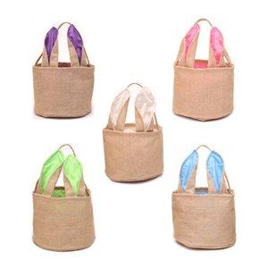 Rabbit Bucket Bunny Basket Jute Kids Egg Candies Baskets Gifts Candy Canvas Barrel Tote Easter Festival Handbags Bags IZ5E
