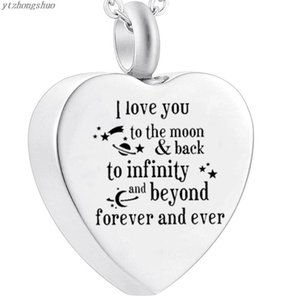 Urn Necklaces For Ashes I Love You To The Moon And Back Cremation Locket Ash Pendant Memorial Jewelry
