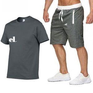2021 Camisa de verano + Shorts Mens Tacksuit Men Stall Colllar O-cuello Mangas cortas Jersey Con Casual Jogger Pantalones Trajes Homme Sportsuit