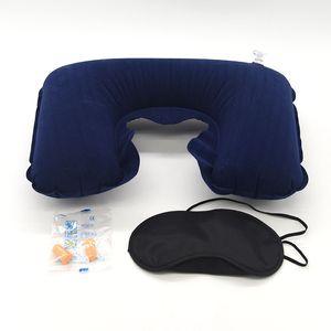Wholesale 3 in 1 Travel Set Inflatable U-Shaped Neck Pillow Air Cushion + Sleeping Eye Mask Eyeshade + Earplugs Car Soft Pillow 1409 V2