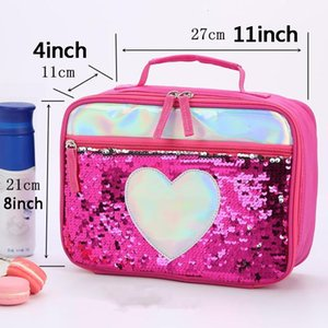 Fashion Sequin Kid Aluminum Foil Thermal Insulated Bag Portable Outdoor Picnic Lunch Food Storage Tote Box Vt0809