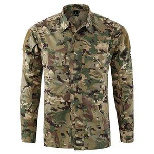 Moda Askeri Taktik Uzun Kollu Gömlek İlkbahar Sonbahar Erkekler Slim Fit Casual Üst Yüksek Kalite Ordu Üniforma Marka Giyim erkek Gömlek