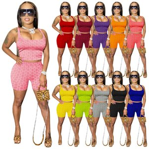 Donne d'estate Tracksuits Due pezzi Set Set Sexy Sexy Yoga Abiti da yoga Tank Top + Pantaloncini Pantaloni Vestiti Sprot Plus Size Suits Jogger