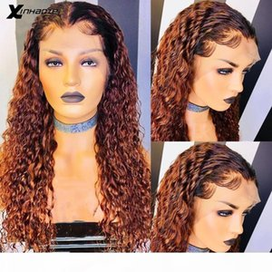 13x6 Ombre Blonde Brown Water Wave Human Hair Wigs Pre plucked Baby Hair 180% Lace Front Human Wigs Brazilian Remy