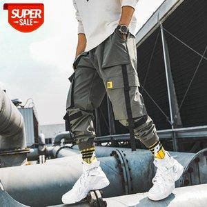 Dropshipping Ribbons Streetwear Joggers Men Casual Slim Mens Pants Multi-pockets Ankle-length Harem Trousers #822t