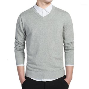 Women's Autumn Winter Men Sweater Jumper Solid Color V-Neck Korean Clothes Slim Fit Pullover Mens Sweaters Cotton Jersey Knitted Sweater1 PHCG