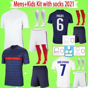 Франция france Mens + Kids Kit с носками 2020 2021 Детский футбол Джерси Мальчики набор MBAPPE MAILLOT de Foot Hernandez Варен Гируд Таувин Канту Погба Футбол футбол для взрослых