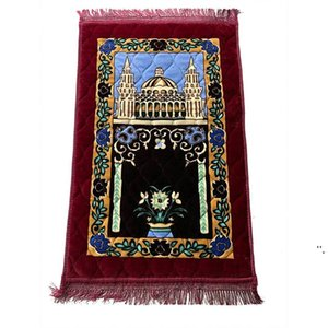Thicken Cashmere Muslim Prayer Carpets High-end Chenille Worship Carpet 110*70cm Islamic Musallah Rugs Arab Anti-slip Mat sea ship OWE6356