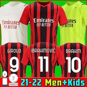 21 22 AC milan soccer jerseys GIROUD MAIGNAN IBRAHIMOVIC BRAHIM KESSIE football shirt 2021 2022 TONALI PAQUETA BENNACER REBIC Camiseta de futbol LEAO Thai