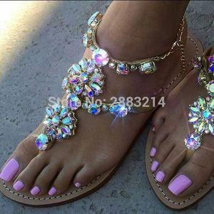 Handmade Rhinestone Lady Metal Chain Flats Sandals Shoes Fashion Ankle Wrap Beach Flip-flop Woman Free Shippping